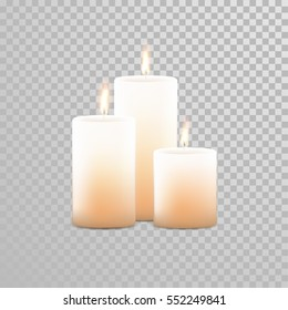 Burning candles set. Aromatic decorative round cylindrical candle sticks with burning flames on transparent background. Vector 3D realistic isolated decoration white or beige element design