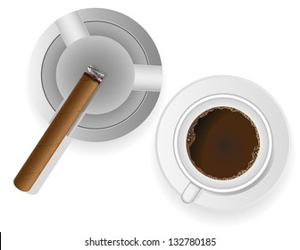 burning cigar in an ashtray and coffee vector illustration isolated on white background