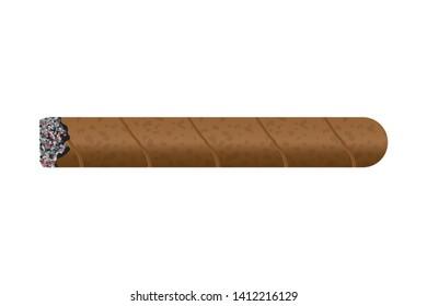 Burning cigar vector illustration isolated on white background
