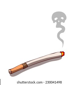 Burning Cigarette as a skull shaped grey smoke is emitted above it, symbolizing that smoking is bad for health, and eventually will kill you. Vector Illustration isolated on White Background.