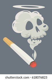 Burning cigarette with a smoke formed skull dead. Vector illustration.
