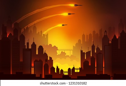 Burning city landscape, launching nuclear missiles. World War 3 vector illustration.