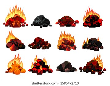 Burning coal set. Realistic bright flame fire on coals heaps closeup vector illustration for grill blaze fireplaces, hot carbon or glowing charcoal image