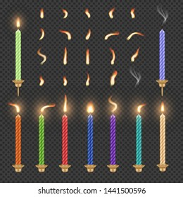 Burning, extinguished birthday candle and flame set. Vector illustration isolated on transparent background. Realistic candles with fire animation sprites.
