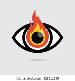 Burning Eye Icon Flat Design