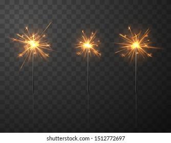 Burning festive Christmas sparkler for magic light celebration background. Vector collection. EPS10.