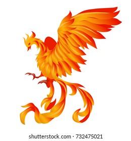 Burning fiery bird isolated on white background. Vector cartoon close-up phoenix illustration.