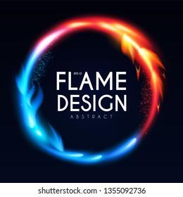 Burning Fire Circle Banner. Flame Power. Light Effect.