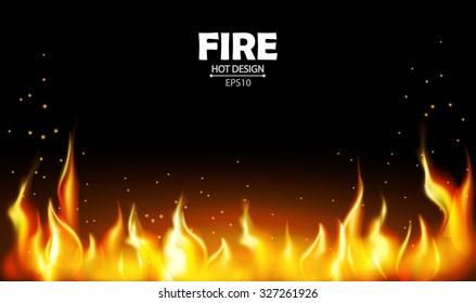 Burning fire flame on black background. Vector illustration