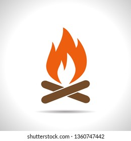 Burning fire illustration. Camping and traveling vector icon