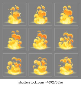 Burning fire special effect fx animation frames sprite sheet. Blazing flames frames for flash animation in games, video and cartoon.