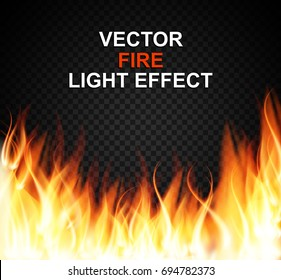 Burning Fire Special Light Effect Flames on Transparent Background. Vector Illustration EPS10