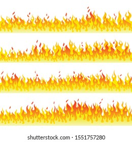 Burning fire walls flat vector horizontal seamless pattern. Decorative flaming border design elements pack. Fiery blaze pack isolated on white background. Red hot inferno, dangerous wildfire