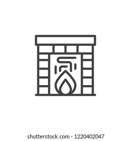 Burning fireplace outline icon. linear style sign for mobile concept and web design. Classic fireplace line vector icon. Symbol, logo illustration. Pixel perfect vector graphics
