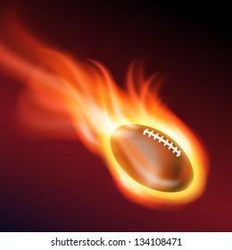 Burning football. EPS10 vector.