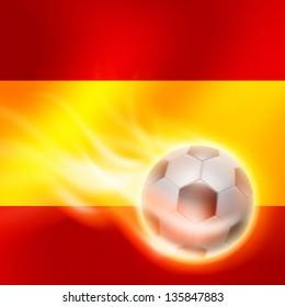 Burning football on Spain flag background. EPS10 vector.