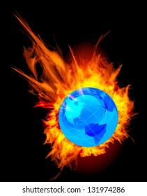 Burning globe earth vector illustration on black