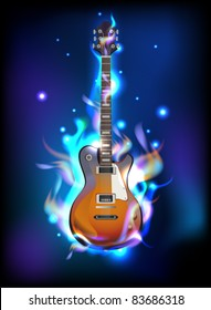Burning guitar in blue flames, vector image eps10