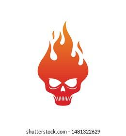 Burning head logo design template - skull on fire