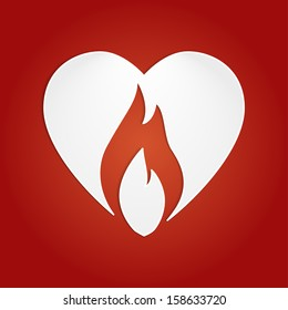 Burning heart with cut out fire vector concept icon.
