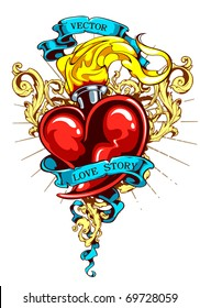 Burning heart with ribbon and flourish pattern. Tattoo style. Layered. Vector EPS 10 illustration.