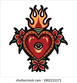 burning heart tattoo vector design