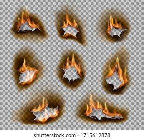Burning holes with fire flames realistic vector design. Burnt paper holes on transparent background with scorched and cracked edges, ashes and brown burnts, fire flames and blaze