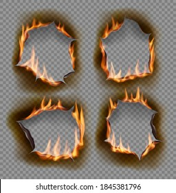 Burning holes, vector burn paper fire with realistic charred edges isolated objects. 3d flame on sheet. Burned round holes in fire flames, torn borders and ripped frames on transparent background