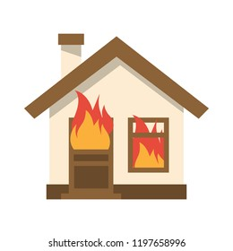Burning house icon. Flame in home. Vector illustration flat design. Isolated on white background. Fire insurance template. Accident.