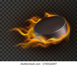 Burning ice hockey puck on transparent background. Realistic vector illustration of black rubber puck flying through the air on fire, flames. Sports equipment.