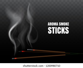 Burning indian incense joss sticks with realistic smoke on transparent background. Vector illustration of buddhist praying and fire meditation with aroma incense stick