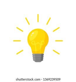 burning lamp in flat style, vector illustration