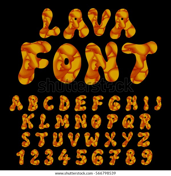 Burning Lava Fire Typeset Vector Font Stock Vector (Royalty Free
