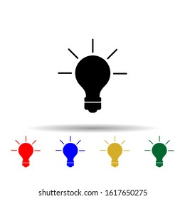 a burning light bulb multi color style icon. Simple glyph, flat vector of web icons for ui and ux, website or mobile application