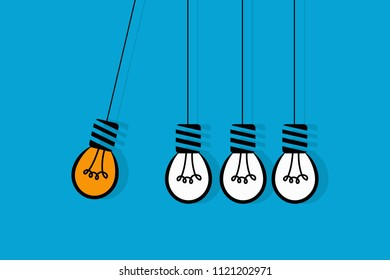 Burning light bulb in perpetual motion hitting another bulbs on light blue background. Idea is perpetual and recurrent concept. Eps vector illustration