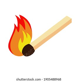Burning match, hand drawn  simple line drawing sketch illustration, design element. Vector illustration on white background. For cards, posters, decor, t shirt design, logo.