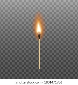 Burning match with realistic fire isolated on transparent background. Hot bright orange flame on single lit matchstick - vector illustration.