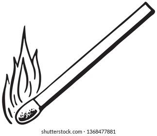 Burning Match - Retro Ad Art Illustration