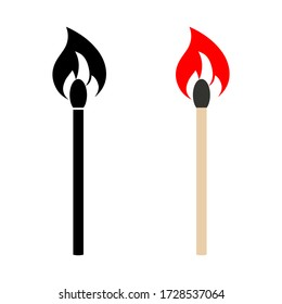 Burning Match Stick Illustration. Match with Fire. matchstick icon set