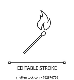 Burning matchstick linear icon. Arson. Thin line illustration. Contour symbol. Vector isolated outline drawing. Editable stroke