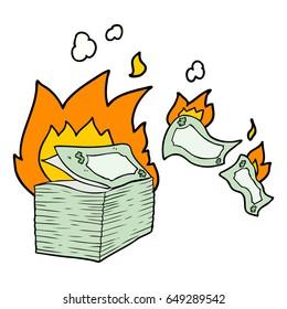 burning money cartoon