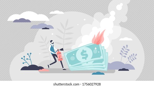 Burning money vector illustration. Financial trouble symbolized with fire and businessman extinguishes flames flat tiny persons concept. Economy bankruptcy risk and rapid money value and wealth lost.