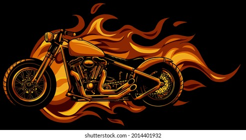 burning motorcycle engulfed in fierce fiery orange flames and fire exploding sparks