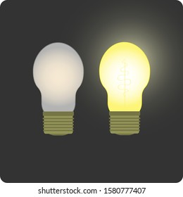Burning and non-burning Electric Lamps bulb on a gray background