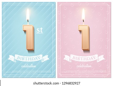 Burning number 10 birthday candles with vintage ribbon and birthday celebration text on textured blue and pink backgrounds in postcard format. Vector vertical birthday invitation templates.