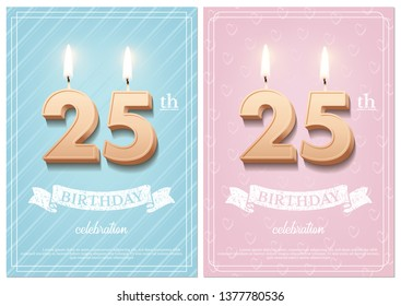 Burning number 25 birthday candles with vintage ribbon and birthday celebration text on textured blue and pink backgrounds in postcard format. Vector vertical twenty fifth birthday invitation template