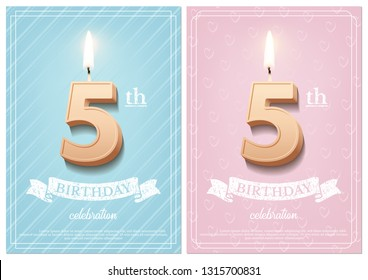 Burning number 5 birthday candle with vintage ribbon and birthday celebration text on textured blue and pink backgrounds in postcard format. Vector vertical fifth birthday invitation templates