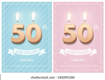 Burning number 50 birthday candles with vintage ribbon and birthday celebration text on textured blue and pink backgrounds in postcard format. Vector vertical fiftieth birthday invitation templates