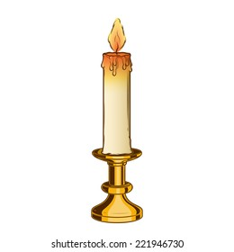 Burning old candle and vintage brass candlestick isolated on a white background. Color line art. Retro design. Vector illustration.