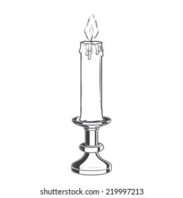 Burning old candle and vintage candlestick isolated on a white background. Monochromatic Line art. Retro design. Vector illustration.